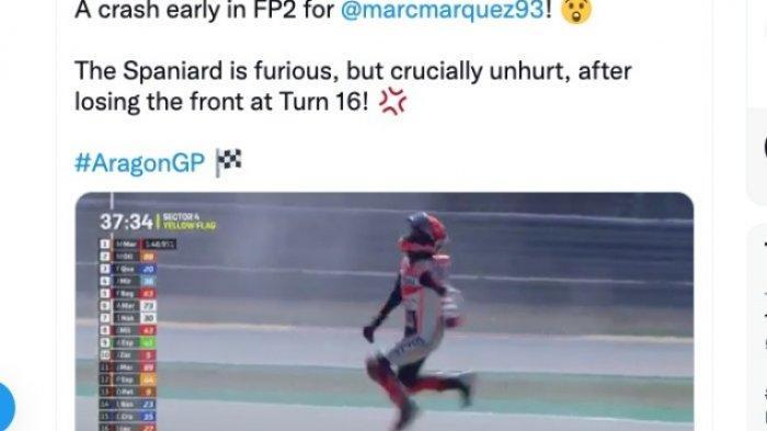 Ekspresi Marc Marquez sesuai terjatuh