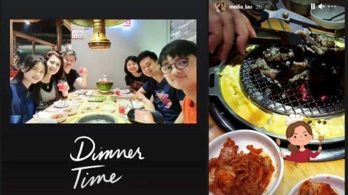 Felicia terlihat merayakannya dengan makan malam bersama keluarga Jumat (2/4/2021).