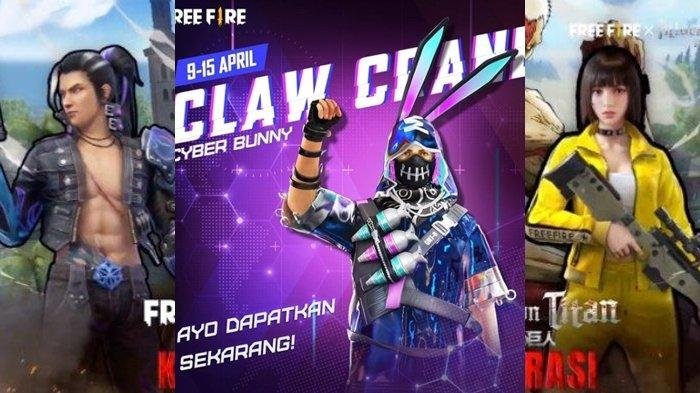 UPDATE Kode Redeem FF 9 April 2021, Main Event Claw Crane, Dapatkan Bundle Spesial, Cyber Bunny!
