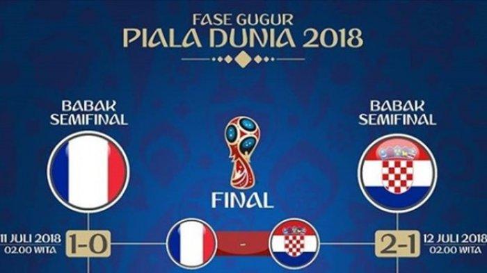 Jadwal Siaran Langsung Final Piala Dunia 2018, Perancis vs Kroasia Hari Minggu Malam
