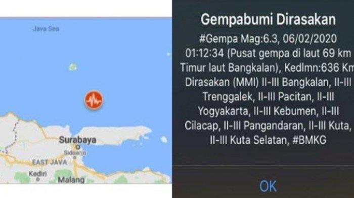 Gempa Bumi 6,3 SR Guncang Bangkalan, Terasa hingga Yogyakarta, Soal Potensi Tsunami Ini Kata BPBD