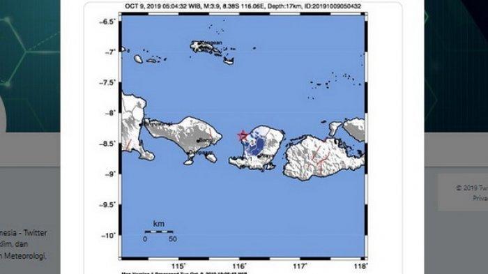 BMKG: Gempa Hari Ini Rabu (9/10/2019) Guncang Lombok, Terasa MMI III Mataram dan 3 Wilayah Lainnya