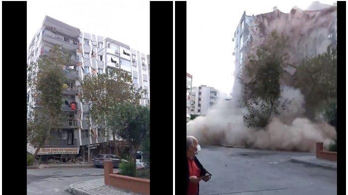 Berita Gempa Turki, Video Detik-detik Gedung Roboh dan Rata dengan Tanah, Air Laut Sampai Masuk Kota
