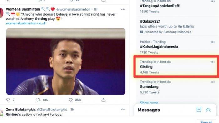 Nama Ginting jadi trending topic Twitter. Anthony Sinisuka Ginting lolos ke semifinal Thailand Open 2021