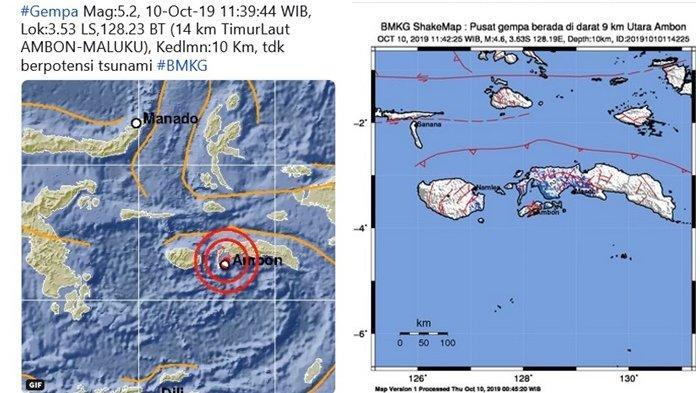 Hanya Selang 3 Menit, 2 Gempa 5,2 SR dan 4,6 SR Guncang Ambon, BMKG Tanggapi Isu Gempa Besar