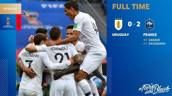 Perancis Lolos ke Semi Final! Skor Akhir 0-2, Uruguay Ditumbangkan Les Bleus