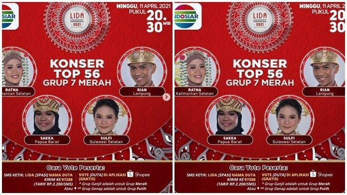Hasil LIDA 2021 Top 56 Grup Merah 7, Ratna Kalsel Dapat 3 SO dari Juri, Siapa Tersenggol Tadi Malam?