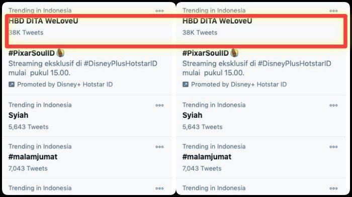 HBD Dita WeLoveU jadi trending topic di hari ulang tahun Dita SECRET NUMBER