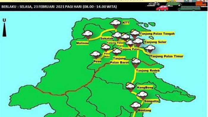 Info Cuaca di Kabupaten Bulungan, Waspada Hujan Lebat Malam Hari di Kecamatan Peso