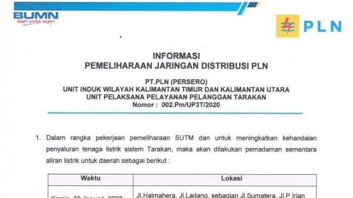 Besok PLN Lakukan Pemadaman Bergilir di Tarakan Kalimantan Utara, Ini Wilayah yang Terdampak