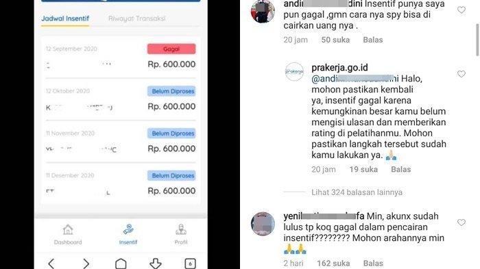 Insentif 12 September Gagal Peserta Kartu Prakerja Protes Rp 600 000 Tak Cair Cair Transfer Molor Tribun Kaltim