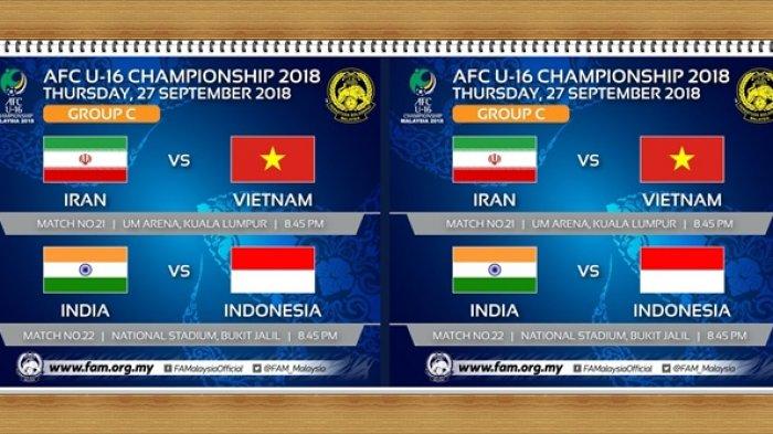 Piala AFC U16 - Timnas U-16 Indonesia Vs India, Ini Perubahan Jadwal dan Venue Pertandingan