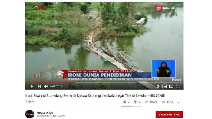 Ketika Murid SD Tantang Bahaya Lewati Jembatan Bambu yang Terendam Air Bendungan
