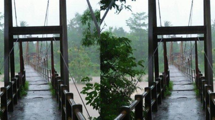 VIDEO - Brakkk. . . Detik-detik Jembatan Gantung Runtuh dan Luluh Lantak saat Hujan Deras
