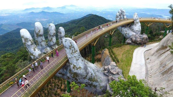 Destinasi Wisata Baru, Jembatan Megah 'Ditopang' Dua Tangan Raksasa, Lihat Potret Menakjubkannya