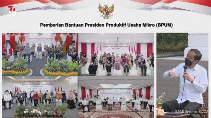 Presiden Joko Widodo ( Jokowi ) melakukan penyerahan BPUM atau BLT UMKM secara simbolis di halaman depan Istana Merdeka, Jumat (30/7/2021).  BLT UMKM mulai cair hari ini, simak link & cara cek penerima di BRI dan BNI