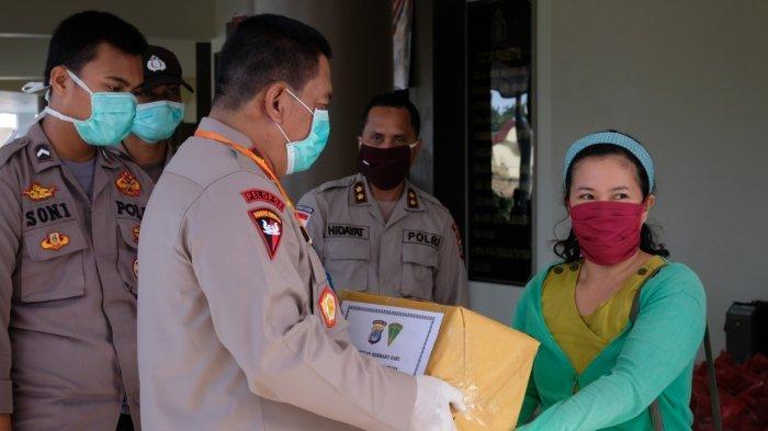 Pandemi Virus Corona, Kapolda Kaltara Brigjen Pol Indrajit Pimpin Bagi Sembako dan Donor Darah