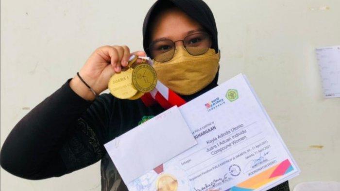 Borong Tiga Emas di Kejuaraan Kartini Open 2021, Kayla Adinda Utomo Harumkan Olahraga Panahan Kutim