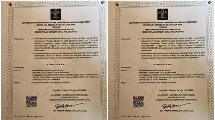 Viral Kerajaan Mulawarman di Calon Ibu Kota Baru, Pamerkan SK Ditandatangani Dirjen diKemenkumham