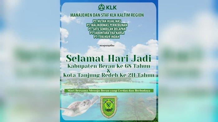 KLK Kaltim Region Ucapkan Selamat Hari Jadi Kabupaten Berau Ke-68 dan Kota Tanjung Redeb Ke-211