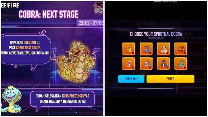 Kode Redeem FF 15 Februari 2021, Buruan Klaim Kode Terbatas, Challenge Baru Cobra Next Stage