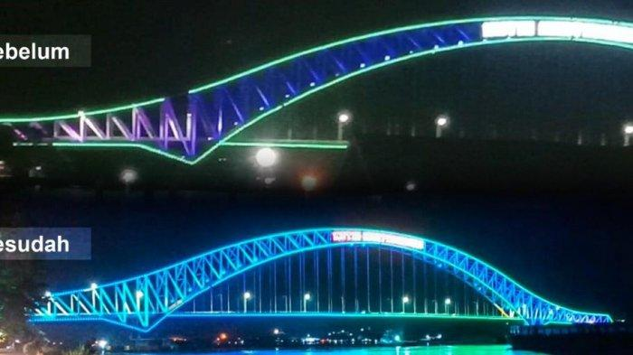 Lampu Tematik Jembatan Kutai Kartanegara Diperbaiki, Ada 9 Lampu Dot yang Putus