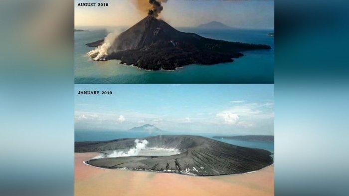 Beredar Video Terkini Gunung Anak Krakatau, Air Laut Berubah Orange, Puncak Banyak yang Hilang