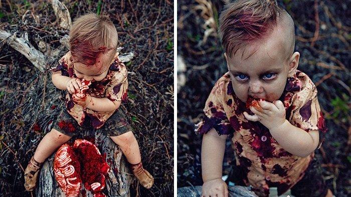 Lakukan Pemotretan Anak dengan Tema Zombie, Ibu Ini Tuai Hujatan, tapi Ada Kisah Haru di Baliknya