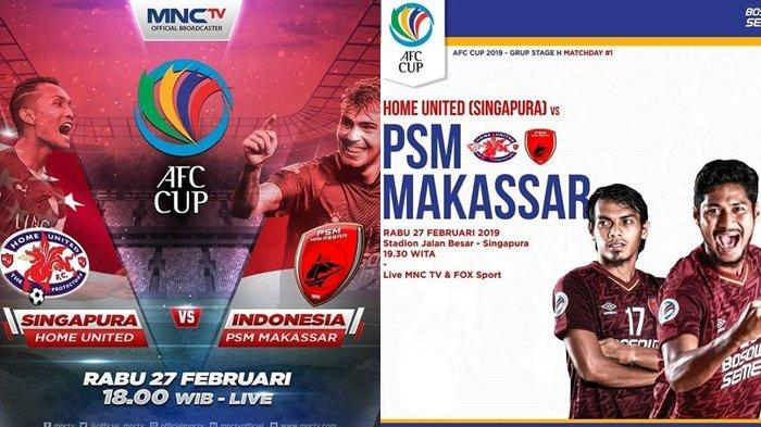 Link Live Streaming Piala AFC Home United vs PSM Makassar, Tanding Sore Nanti