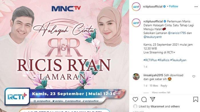 Siaran Langsung Lamaran Ria Ricis dan Teuku Ryan Hari ini, Saksikan Live MNC TV & Streaming RCTI+
