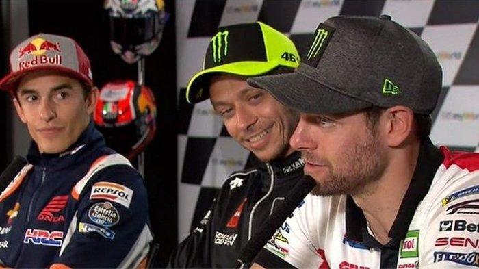 Dari kiri: Marc Marquez, Valentino Rossi, dan Cal Crutchlow ketika menghadiri konferensi pers menjelang balapan MotoGP.
