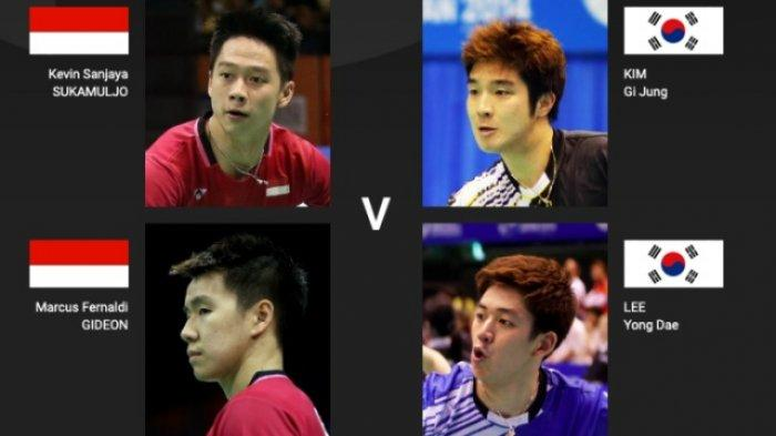 Jadwal Live & Live Streaming Badminton Hari Ini French Open 2019 Marcus/Kevin Vs Korsel di TV Court