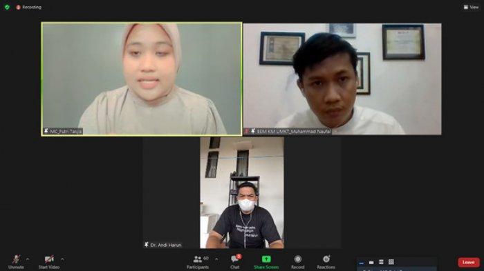 Diskusi Publik BEM UMKT, Walikota Samarinda Andi Harun Berupaya Jaga Ekonomi Saat PPKM Level 4