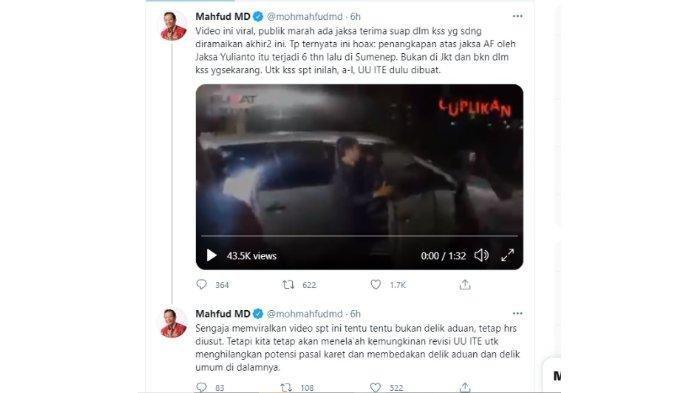 Menko Polhukam Mahfud MD mengklarifikasi video viral jaksa menerima suap dalam sidang Rizieq Shihab sebagai hoaks, Minggu (21/3/2021).