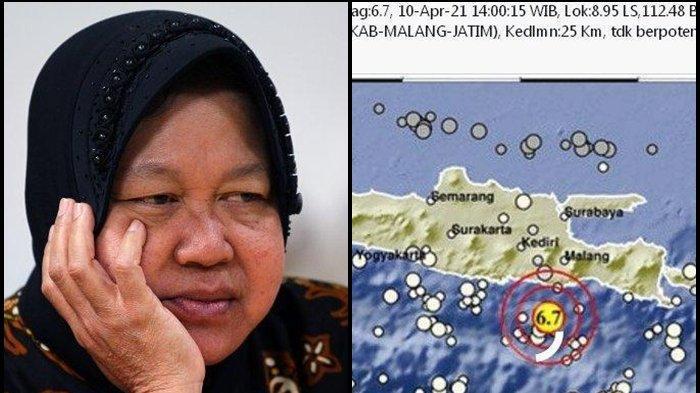 UPDATE Gempa Malang, Mensos Risma Temui Korban Dinihari, Kerahkan 700 Tagana, Waspada Gempa Susulan!
