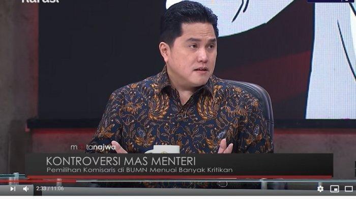 Di Mata Najwa, Erick Thohir Blak-blakan Jawab soal Rangkap Jabatan dan Orang Titipan Partai di BUMN