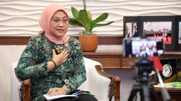 Menteri Ketenagakerjaan, Ida Fauziyah dalam Konferensi Pers terkait Update Perkembangan Program Bantuan Subsidi Gaji/Upah virtual, Kamis (1/10/2020).