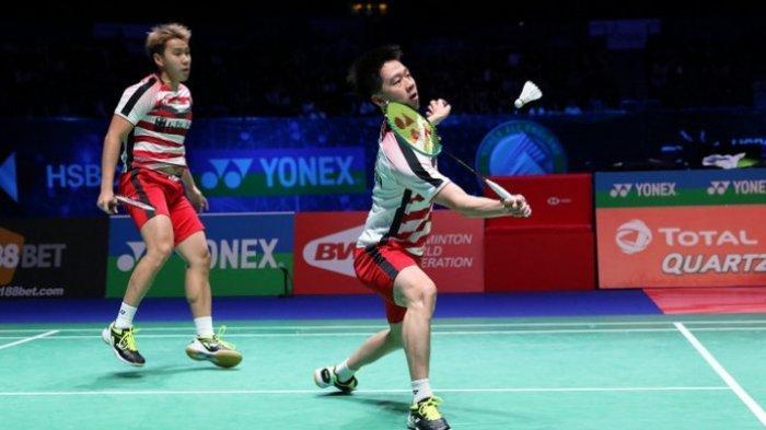 Pasangan ganda putra Indonesia, Marcus Fernaldi Gideon/Kevin Sanjaya Sukamuljodi di babak semifinal All England 2018.