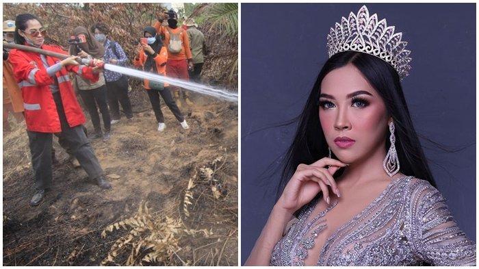 PARADE FOTO Miss Glam World 2019 Muncratkan Air, Padamkan Karhutla di Calon Lokasi Ibu Kota Baru RI
