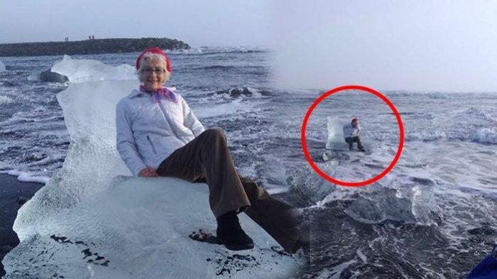 Narsis Minta Difotokan di Atas Bongkahan Gunung Es, Nenek Ini Malah Hanyut ke Laut