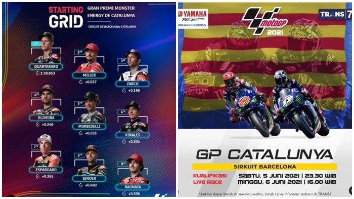 Nonton Gratis MotoGP Catalunya 2021, Quartararo Start Pertama, Rossi Posisi 11, Trans 7 dan Usee TV