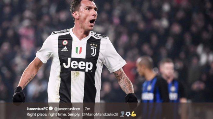 Hasil Akhir Juventus vs Inter Milan, Gol Mario Mandzukic Bikin Nyonya Tua Menangi Derby D'Italia