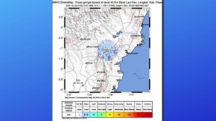 BREAKING NEWS -  Gempa Hari Ini, Terjadi di Kecamatan Long Kali, Kabupaten Paser, Kekuatan 4,1 SR