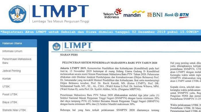 Buka Hari ini 2 Desember, Cara Registrasi Akun LTMPT di ltmpt.ac.id & Jadwal Pendaftaran SNMPTN 2020