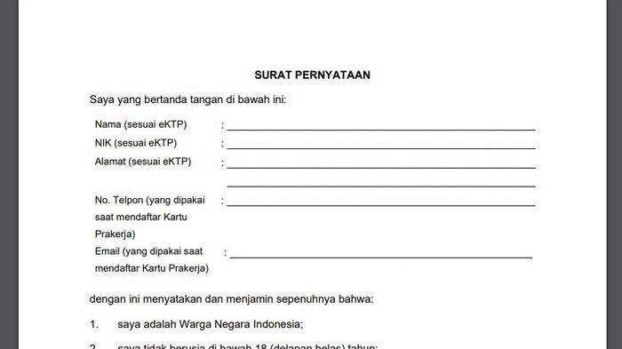 PENTING Akses kepesertaan@prakerja.go.id Bila 3 Kali Gagal, Download Surat Pernyataan Gagal Prakerja - Tribun Kaltim