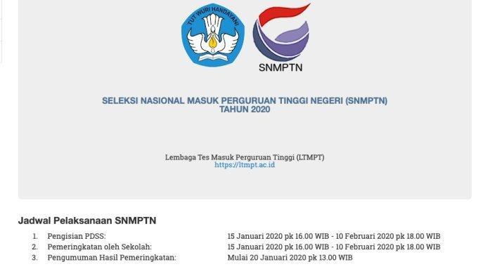 Pendaftaran SNMPTN 2020 Dimulai, Ini Tahapan dan Link Pendaftaran serta Daftar Lengkap 85 PTN