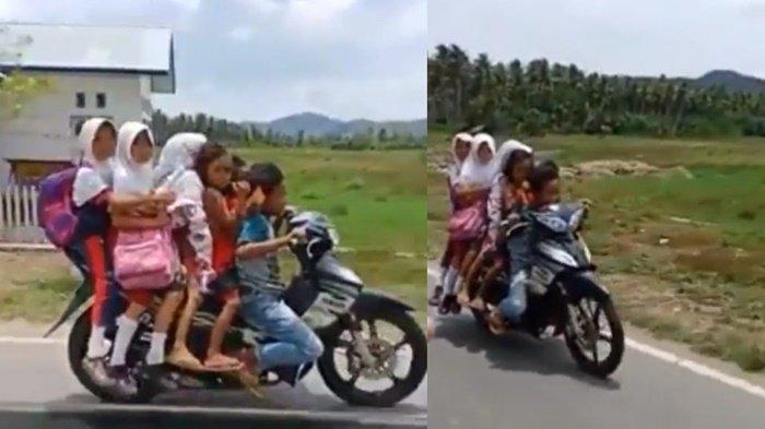 Aksi Pengendara Motor Cilik Ini Terekam Lagi Bonceng Lima Bocah Sekaligus, Bikin Geleng Kepala