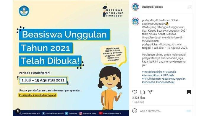 TERBARU! INILAH Syarat Pendaftaran Beasiswa Unggulan Kemendikbud 2021 di puslapdik.kemdikbud.go.id