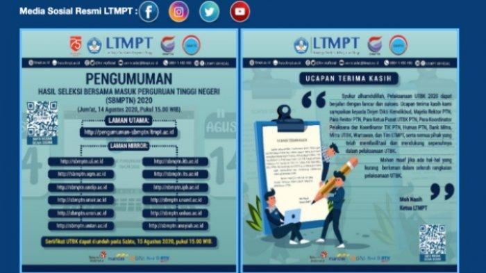 Pengumuman SBMPTN 2020 Jumat 14 Agustus 2020, Login pengumuman-sbmptn.ltmpt.ac.id dan 12 Link Mirror