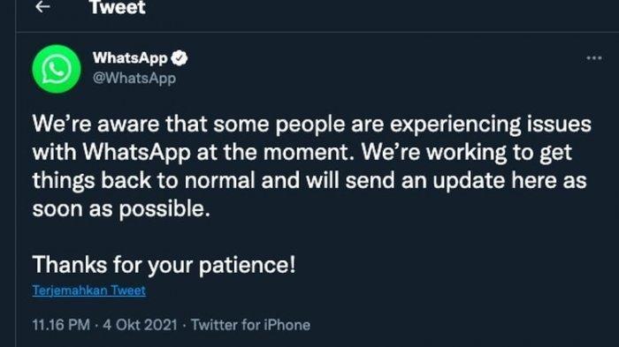 Masih Down, WhatsApp dan Instagram Minta Pengguna Bersabar, Facebook Minta Maaf